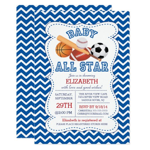 modern all star sports boys baby shower card zazzle