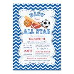 Modern All Star Sports Boys Baby Shower 5x7 Paper Invitation Card