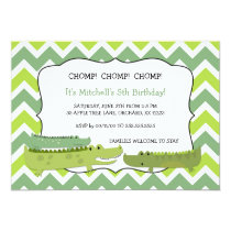 Modern alligator crocodile birthday party invites