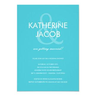 Modern Ampersand Wedding Shower Invites Turquoise
