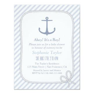Modern Anchor Nautical Baby Shower Invitations