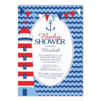 Modern Anchor Nautical Boys Baby Shower Invitation