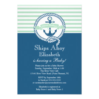 Modern Anchor Nautical Neutral Baby Shower Invites
