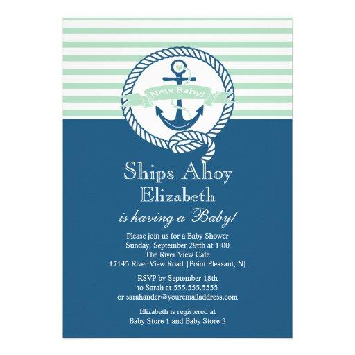 modern anchor nautical neutral baby shower invites