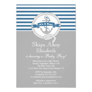 Modern Anchor Nautical Sailboat Boy Baby Shower Card