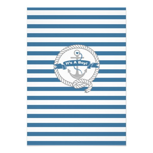 Modern Anchor Nautical Sailboat Boy Baby Shower Personalized Invitation (back side)