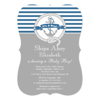 Modern Anchor Nautical Sailboat Boy Baby Shower Personalized Invitation