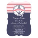Modern Anchor Nautical Sailboat Girl Baby Shower 5x7 Paper Invitation Card