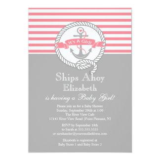 Modern Anchor Nautical Sailboat Girl Baby Shower Card