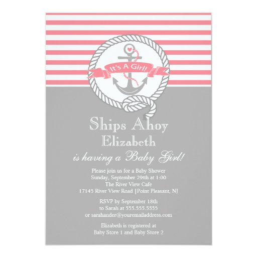 modern anchor nautical sailboat girl baby shower 5x7 paper invitation