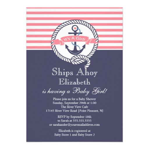 modern anchor nautical sailboat girl baby shower 5 x 7 invitation