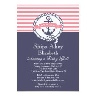Modern Anchor Nautical Sailboat Girl Baby Shower Invites