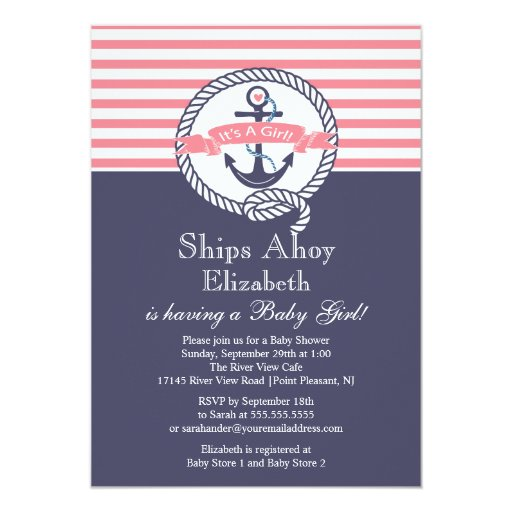 "Modern Anchor Nautical Sailboat Girl Baby Shower 5"" X 7"" Invitation Card"