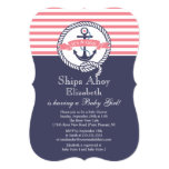 Modern Anchor Nautical Sailboat Girl Baby Shower 5x7 Paper Invitation Card