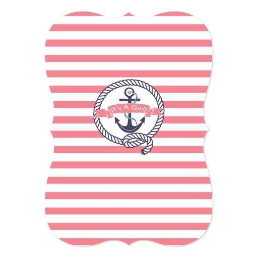 Modern Anchor Nautical Sailboat Girl Baby Shower Invites (back side)