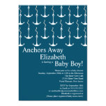 Modern Anchors Away Nautical Baby Shower Personalized Invites