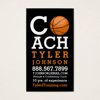 Modern and Bold Basketball Coach Business Card