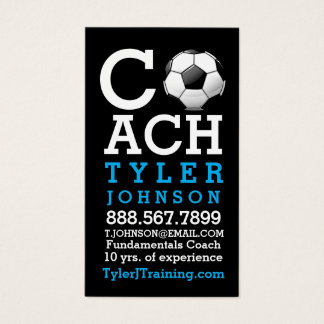 Modern and Bold Soccer Coach Business Card