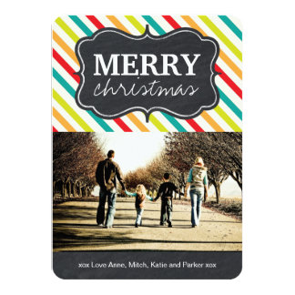 Modern and Bright Chalkboard Christmas Photo Cards Personalized Announcement