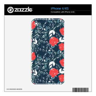 Modern and elegant floral pattern decals for iPhone 4S
