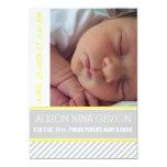Modern and elegant yellow, grey striped baby birth 5x7 paper invitation card