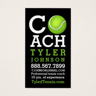 Modern and Fun Tennis Coach Personalized Business Card