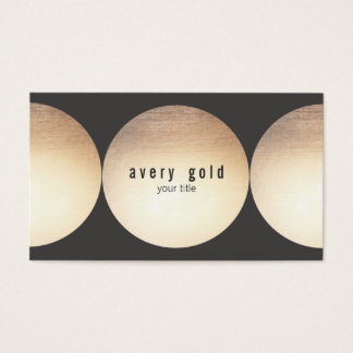 Modern and Hip Faux Gold Leaf Circle Business Card