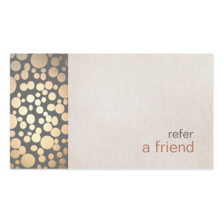 Modern and Hip Gold Refer A Friend Coupon Salon Double-Sided Standard Business Cards (Pack Of 100)
