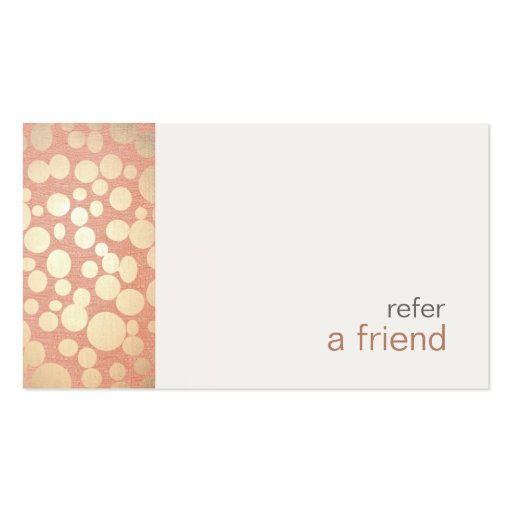 Modern and Hip Gold  Refer A Friend Coupon Salon Business Card Template (front side)