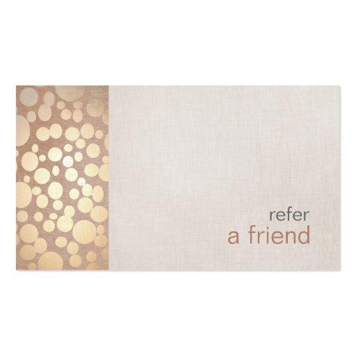 Refer a friend business card templates bizcardstudio modern and hip gold refer a friend coupon salon business card colourmoves