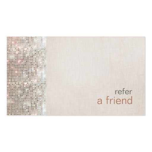 Refer a friend business card templates bizcardstudio modern and hip sequins refer a friend coupon salon business card template colourmoves