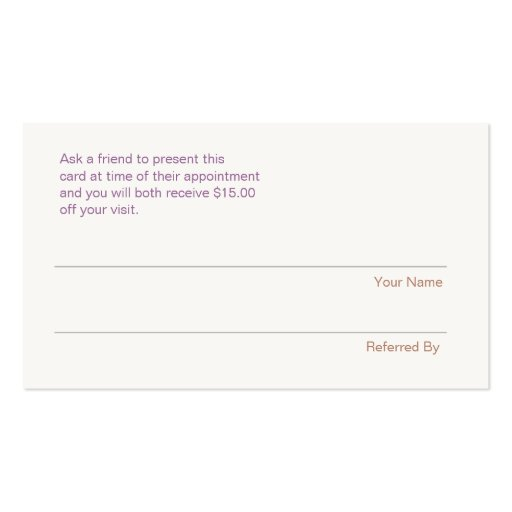 Modern and Hip Sequins Refer A Friend Coupon Salon Business Card Templates (back side)