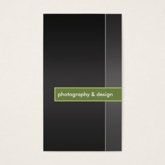modern and minimal black & lime green photography business card