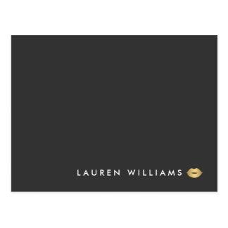 Modern and Minimal Gold Lips Beauty Postcard