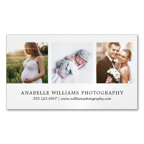 Modern and Minimal  Photography Business Card Magnet