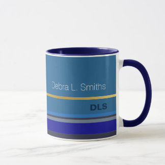 modern and personalized blue mug