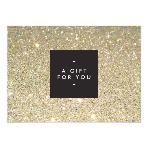 MODERN and SIMPLE BLACK BOX GOLD GLITTER Gift Cert 4.5x6.25 Paper Invitation Card