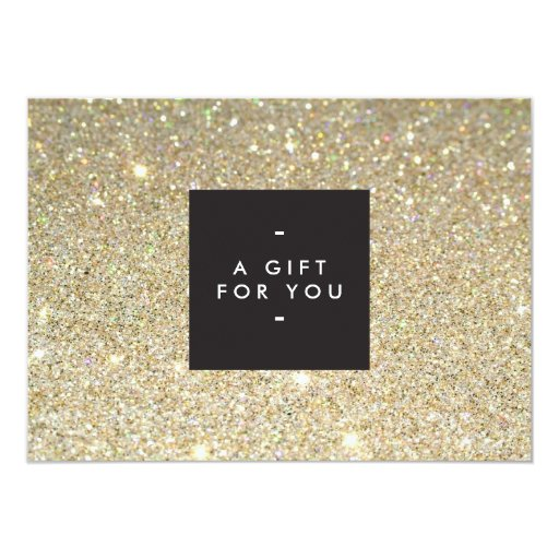 Modern And Simple Black Box Gold Glitter Gift Cert Announcement Zazzle