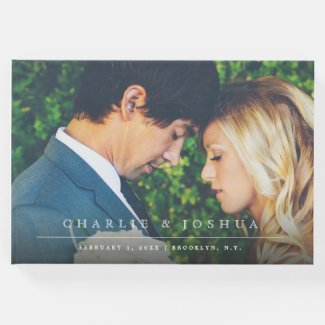 Modern and Simple Line Photo Wedding Guest Book
