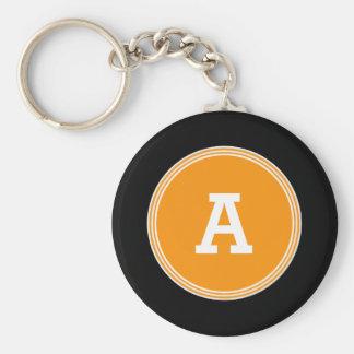 Modern and Simple Monogram V01 ORANGE and BLACK Basic Round Button Keychain