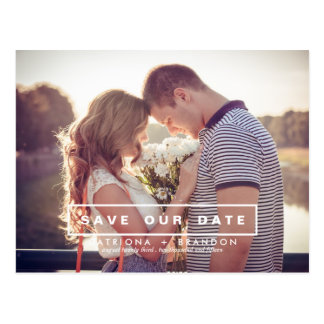 MODERN AND SIMPLE PHOTO SAVE THE DATE POSTCARD
