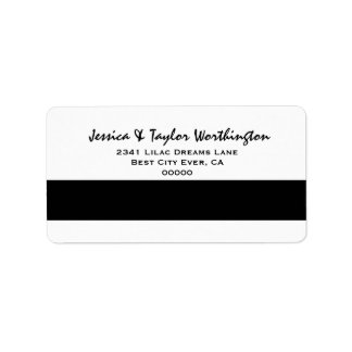 Modern and Simple Style Black and White Address Label