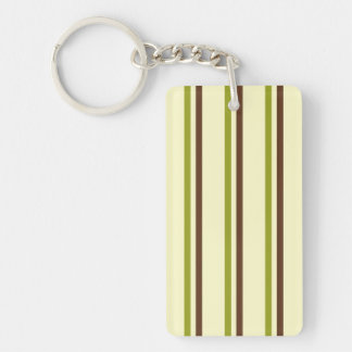 Modern and Trendy Green Brown and Creme Stripes Double-Sided Rectangular Acrylic Keychain