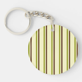 Modern and Trendy Green Brown and Creme Stripes Single-Sided Round Acrylic Keychain