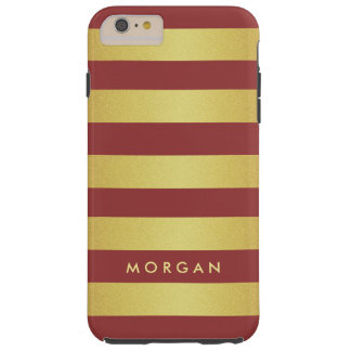 Modern and Trendy Marsala Gold Glitter Stripes Tough iPhone 6 Plus Case