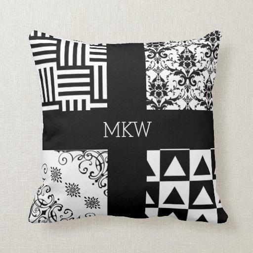 Modern White Pillow : Modern and Vintage Black White Elegant Geometric Throw Pillow Zazzle