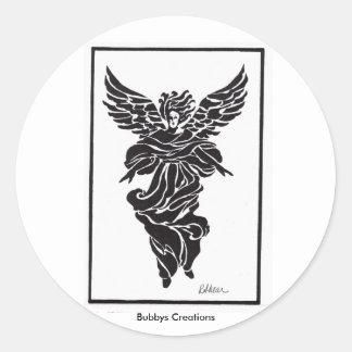 Modern Angel in Frame Classic Round Sticker