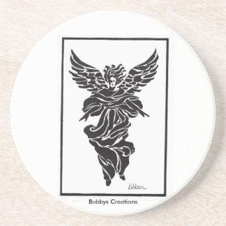 Modern Angel in Frame Sandstone Coaster