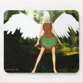 Modern Angel in the Woods Mouse Pad