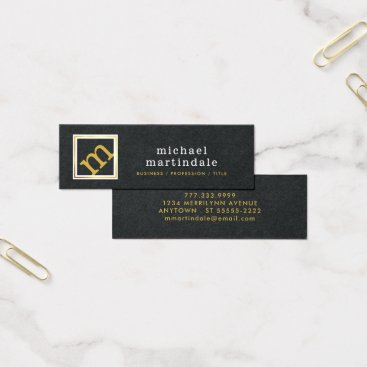 Professional Business Modern Angled Monogram, Premium Black and Gold Mini Business Card